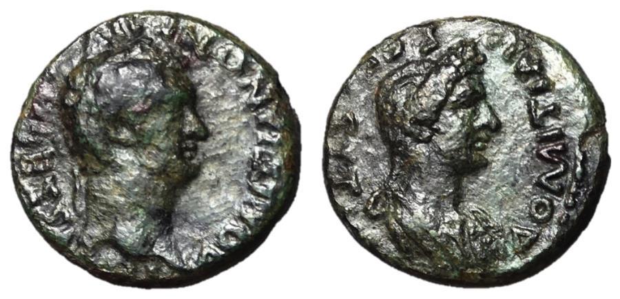 Ancient Coins - Domitian, with Domitia, 81 - 96 AD, Larissa Mint