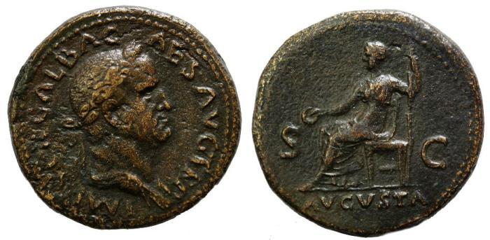 Ancient Coins - Galba, 69 AD, Sestertius, Livia