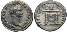 Ancient Coins - Domitian, 81 - 96 AD, Silver Denarius, Thunderbolt on Table