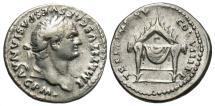 Ancient Coins - Titus, 79 - 81 AD, Silver Denarius, Throne of Jupiter & Juno