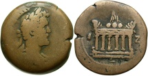 Ancient Coins - Antoninus Pius, 138 - 161 AD, Drachm of Alexandria, Altar of Agathodaimon, Very Rare