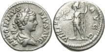 Ancient Coins - Caracalla, 198 - 217 AD, Silver Denarius, Virtus, Laodicea Mint