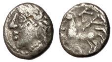 Ancient Coins - Celtic Gaul, The Aedui, 80 - 50 BC, Silver Quinarius