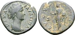 Ancient Coins - Diva Faustina Sr., 146 - 171 AD, Sestertius with Vesta