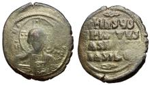 Ancient Coins - Basil II & Constantine VIII, Class A2 Follis with Christ, 976 - 1025 AD