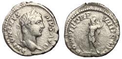 Ancient Coins - Caracalla, 198 - 217 AD, Silver Denarius with Jupiter