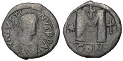Ancient Coins - Justin I, 518 - 527 AD, Follis of Constantinople, 30mm