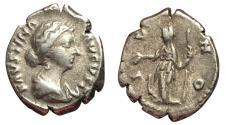 Ancient Coins - Faustina Jr., 147 - 175 AD, Silver Denarius, Juno