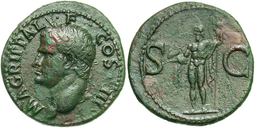Ancient Coins - Marcus Agrippa, Issue by Caligula, 37 - 41 AD, AE As, Neptune with Dolphin
