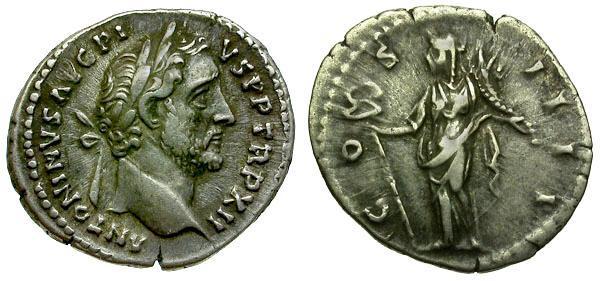 Ancient Coins - Antoninus Pius, 138 - 161 AD, Silver Denarius, Felicitas