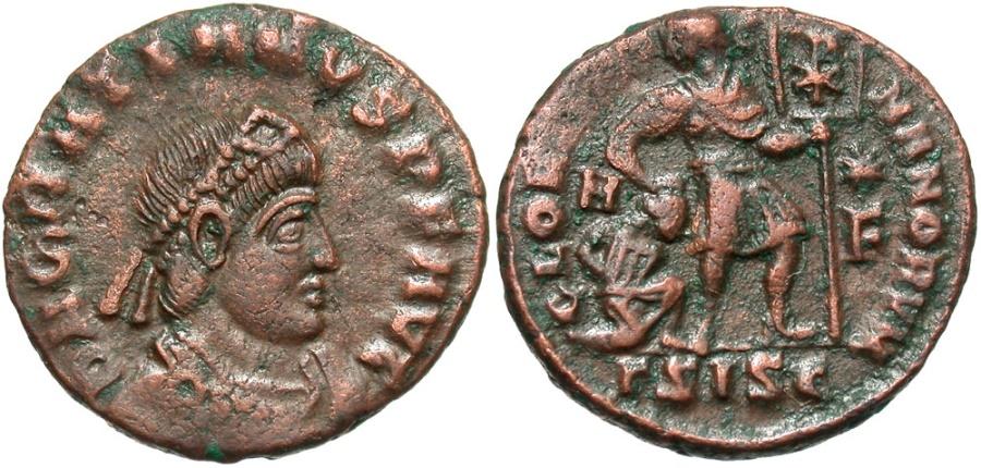 Ancient Coins - Gratian, 367 - 383 AD, AE17, Siscia, Gratian Dragging Captive