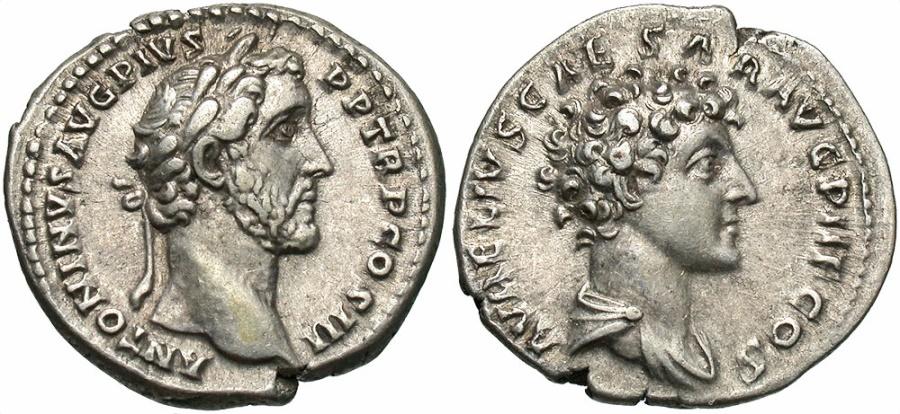 Ancient Coins - Antoninus Pius & Marcus Aurelius Caesar, Silver Denarius, Fantastic Portraits