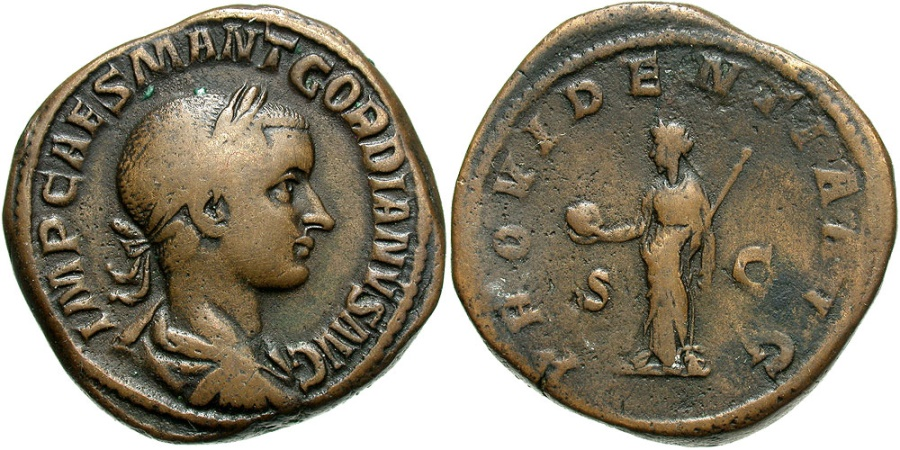 Ancient Coins - Gordian III, 238 - 244 AD, Sestertius, Providentia, Large & Heavy Flan