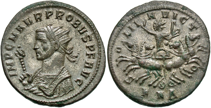 Ancient Coins - Probus, 276 - 282 AD, Silvered Antoninianus of Serdica, Sol in Facing Quadriga