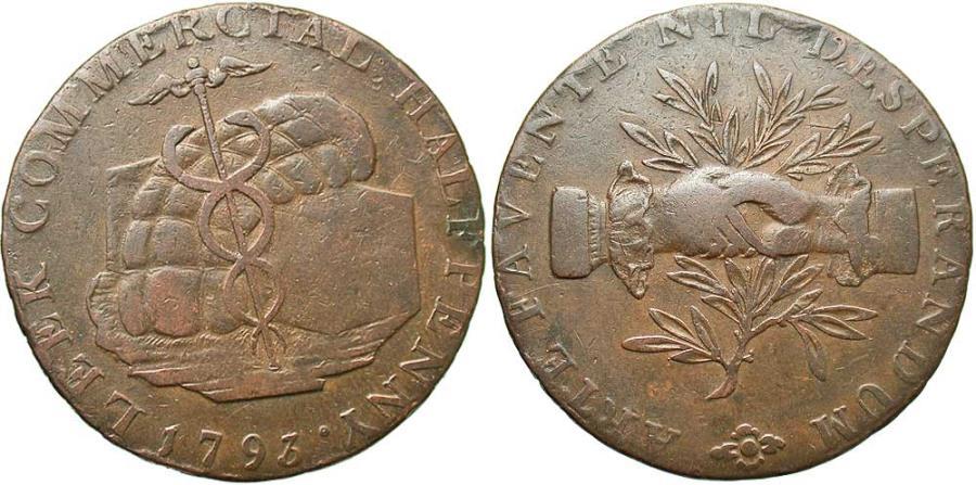 World Coins - Staffordshire, Leek, Halfpenny Token 1792, D&H10 sim (Unpublished Edge Inscription)