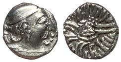 Ancient Coins - Western Satraps, Rudrasena III, 348 - 378 AD, Silver Drachm