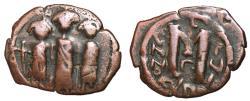 Ancient Coins - Heraclius with Heraclius Constantine & Martina, 610 - 641 AD, Follis of Cyprus