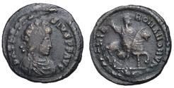 Ancient Coins - Theodosius, 379 - 395 AD, Follis of Constantinople, On Horseback, Unpublished & Rare