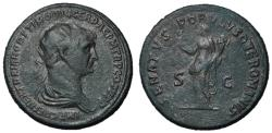 Ancient Coins - Trajan, 98 - 117 AD, Dupondius, Felicitas, Unpublished, 2nd Known Example