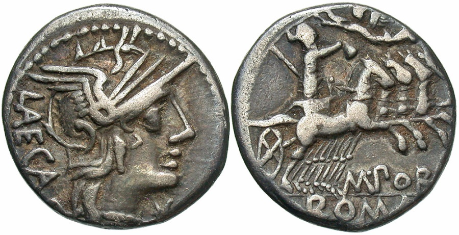 Ancient Coins - M Porcius Laeca, Silver Denarius, 125 BC, Superb Old Collection Toning