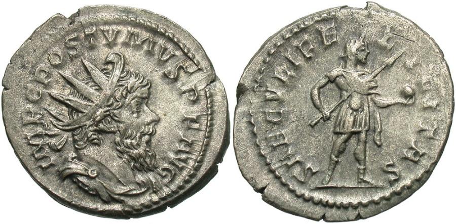 Ancient Coins - Postumus, 260 - 269 AD, Silver Antoninianus, Treveri Mint, Superb Example
