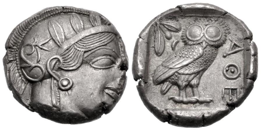 Ancient Coins - Attica, Athens, 454 - 404 BC, Silver Tetradrachm, EF, Good Crest