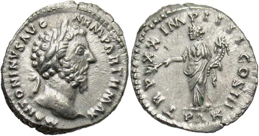 Ancient Coins - Marcus Aurelius, 161 - 180 AD, Silver Denarius, Pax