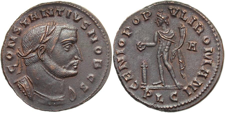 Ancient Coins - Constantius Chlorus, 305 - 306 AD, Follis of Lugdunum, Rare