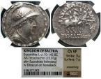 Ancient Coins - Baktrian Kingdom, Eukratides I Megas, 170 - 145 BC, Silver Tetradrachm, NGC Slabbed