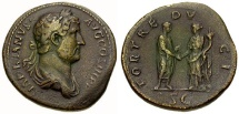 Ancient Coins - Hadrian, 117 - 138 AD, Sestertius, Hadrian & Fortuna Clasping Hands