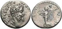 Ancient Coins - Septimius Severus, 193 - 211 AD, Silver Denarius, Victory, Emesa Mint