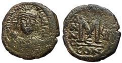 Ancient Coins - Maurice Tiberius, 582 - 602 AD, 28mm Follis of Constantinople