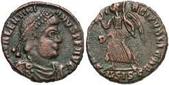 Ancient Coins - Valentinian I, 364 - 375 AD, AE18, Siscia, Victory Advancing