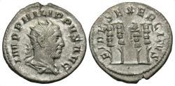 Ancient Coins - Philip I, 244 - 249 AD, Silver Antoninianus, Three Military Standards
