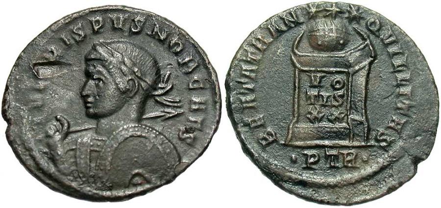 Ancient Coins - Crispus, as Caesar, 316 - 326 AD, AE20, Trier, Altar