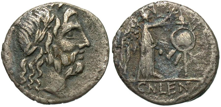 Ancient Coins - Cn Lentulus Clodianus, 88 BC, Silver Quinarius