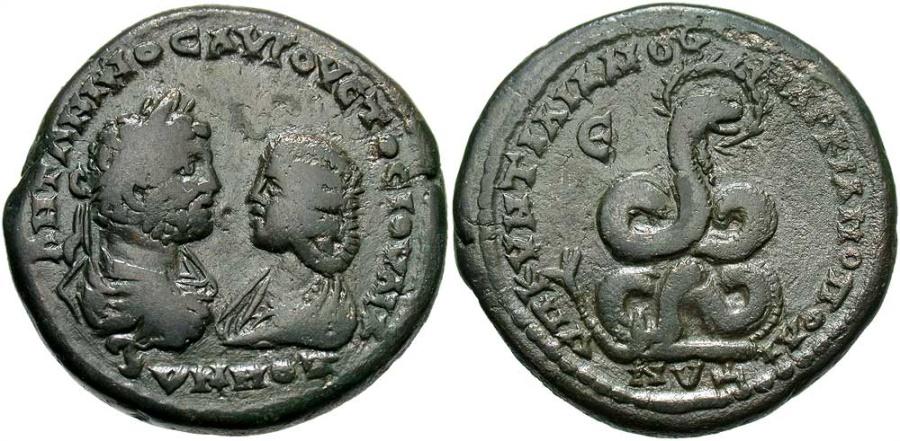 Ancient Coins - Caracalla & Julia Domna, 198 - 217 AD, Pentassarion of Marcianopolis, Coiled Snake