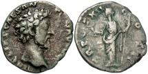 Ancient Coins - Marcus Aurelius, as Caesar, 139 - 161 AD, Silver Denarius, Felicitas