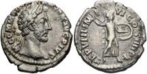 Ancient Coins - Commodus, 177 - 192 AD, Silver Denarius, Minerva
