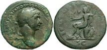 Ancient Coins - Trajan, 98 - 117 AD, AE As, Roma Seated