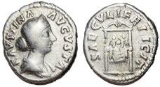 Ancient Coins - Faustina Jr., 161 - 164 AD, Silver Denarius, Throne with Children