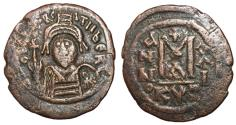 Ancient Coins - Maurice Tiberius, 582 - 602 AD, Follis of Cyzicus