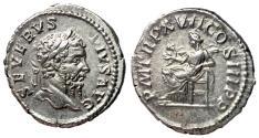 Ancient Coins - Septimius Severus, 193 - 211 AD, Silver Denarius, Salus, EF