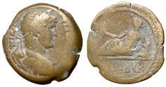 Ancient Coins - Hadrian, 117 - 138 AD, Hemidrachm of Alexandria, Euthenia Reclining on Sphinx