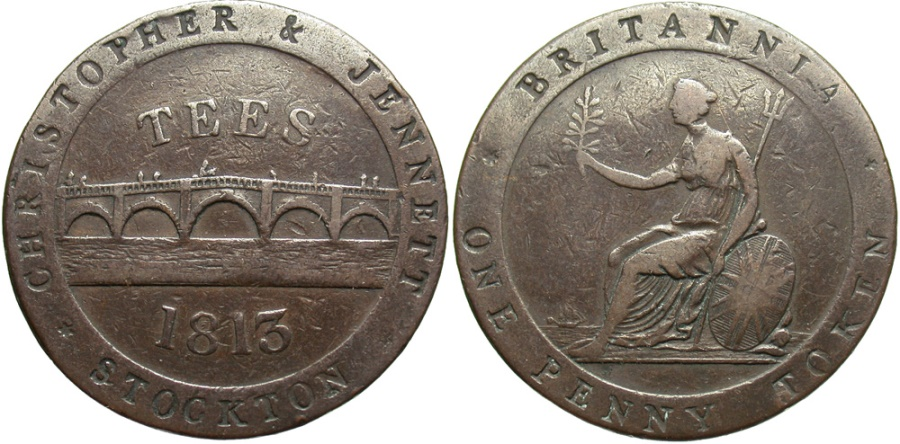 World Coins - Durham, Stockton, Halfpenny Token 1813, Withers1115
