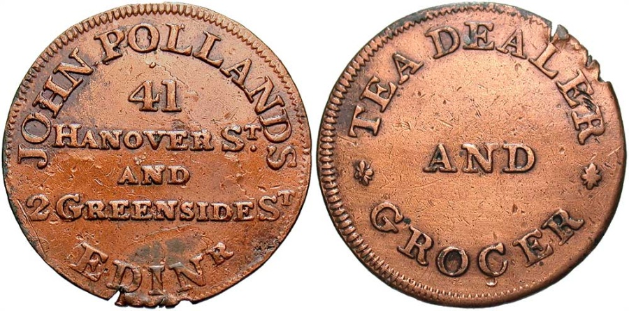 World Coins - Scotland, Lothian, Edinburgh, Farthing Token 1790's, D&H114