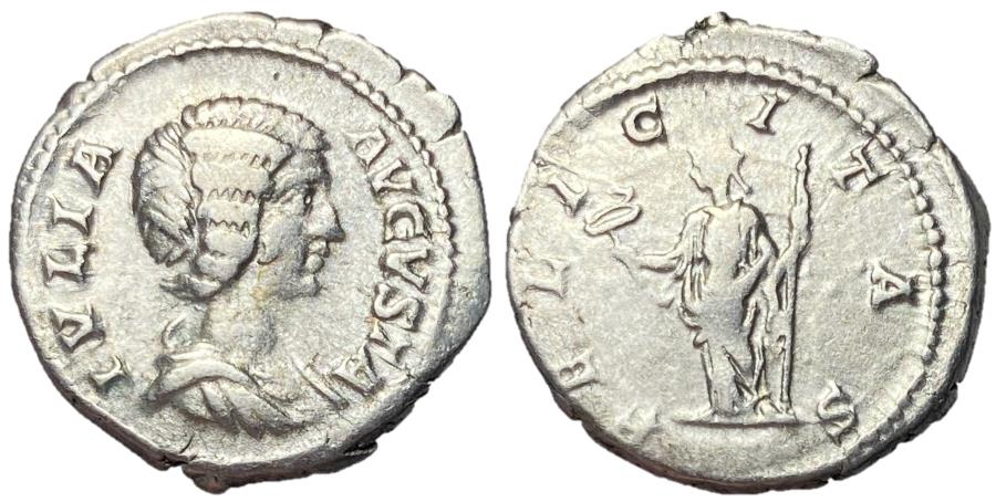 Ancient Coins - Julia Domna Silver Denarius with Felicitas