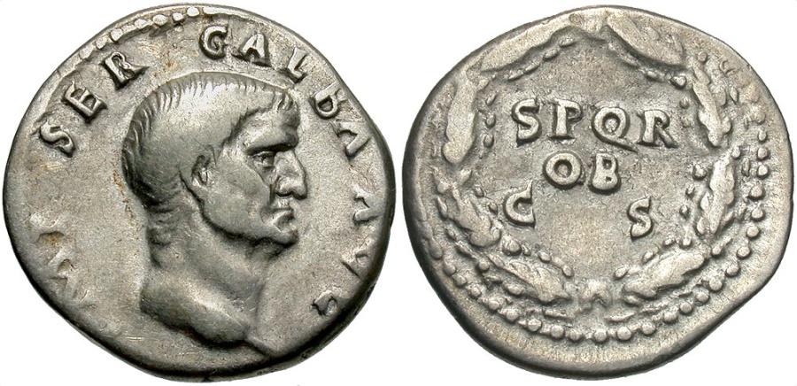 Ancient Coins - Galba, 68 - 69 AD, Silver Denarius, Inscription in Oak Wreath
