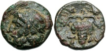 Ancient Coins - Aiolis, Temnos, 3rd Century BC, AE10, Dionysos and Grapes