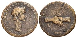 Ancient Coins - Nerva, 96 - 98 AD, Sestertius with Clasped Hands